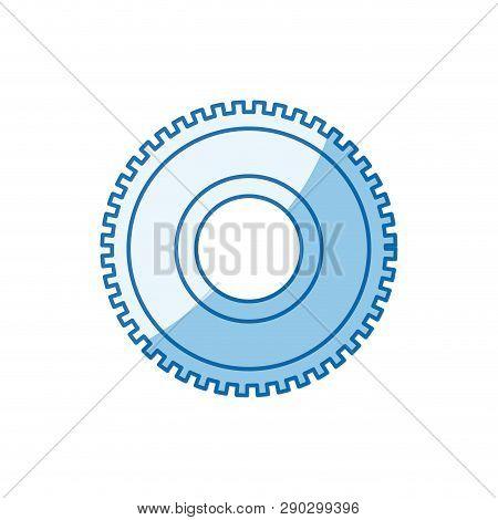 Blue Color Shading Silhouette Cog Wheel Pinion Icon Vector Illustration