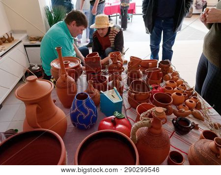 Grodno, Belarus - March 8, 2019: Master Class On Pottery.