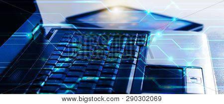 Close Up Laptop Computer And Tablet On Office Desk Cyber Security Data Protection Business Technolog