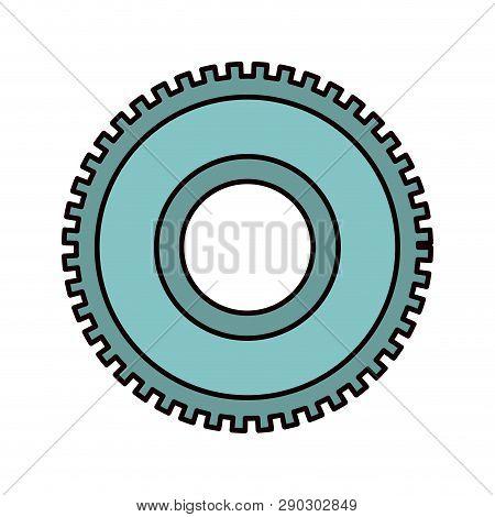 Color Sketch Silhouette Cog Wheel Pinion Icon Vector Illustration