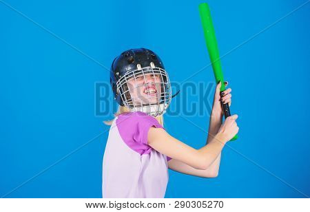 Ready Repel Attack. Woman Enjoy Play Baseball Game. Woman In Baseball Sport. Girl Confident Pretty B