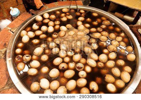 Taiwanese Cuisine - Eggs Boiled In Black Tea. Jiufen Old Street Market.