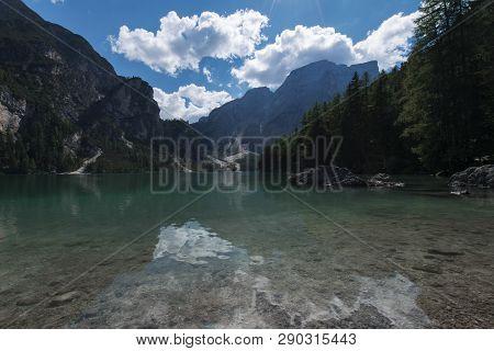 View Of The Braies Lake ( Pragser Wildsee, Also Called Lago Di Braies Or Lake Prags ) In Dolomites M