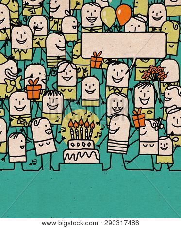 Hand drawn Cartoon People Crowd and Happy Birthday Time