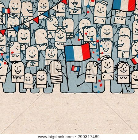 Hand drawn Cartoon People Crowd and Happy  National French Day