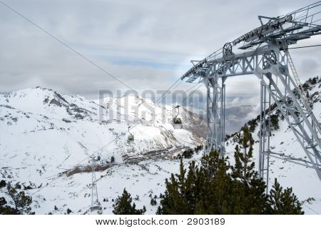 Chair Lifts At The Top Of The Moutain