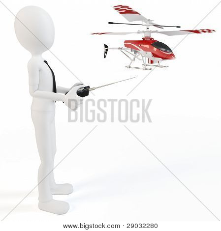 3D Man Piloting Radio Controlled Helicopter
