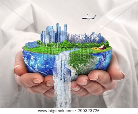 Eco Concept. City Of Future. Solar Energy Town, Wind Energy. Save The Planet. Earth Day.