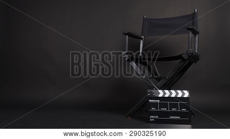 Clapper Board Or Movie Slate With Director Chair Use In Video Production Or Movie And Cinema Industr