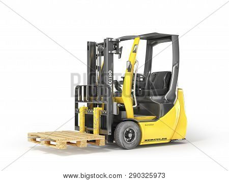 Modern Forklift With Empty Pallet On A White Background. 3d Illustration