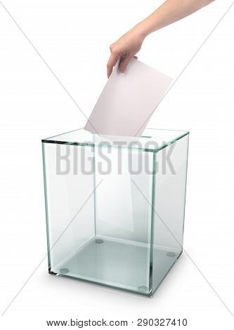 Hand Of The Person Voted At The Election Urn During The Election. 3d Illustrations