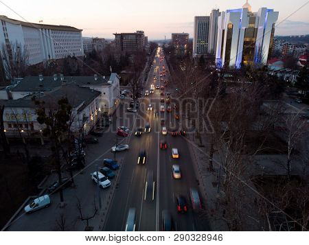 Stefan Cel Mare Central Boulevard At Sunset In Chisinau With Cars, Moldova