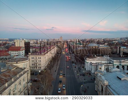 Stefan Cel Mare Central Boulevard At Sunset In Chisinau, Moldova