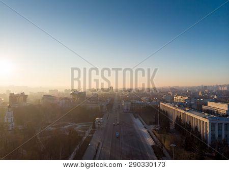 Stefan Cel Mare Central Boulevard At Sunrise