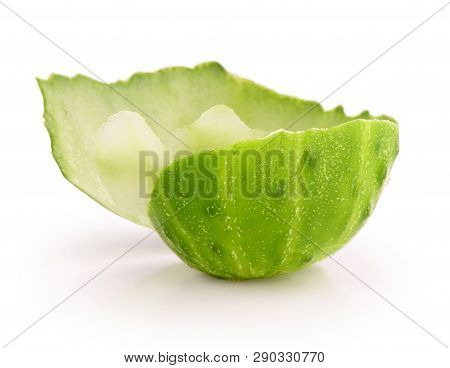 Piece Of Cucumber Skin On White Background