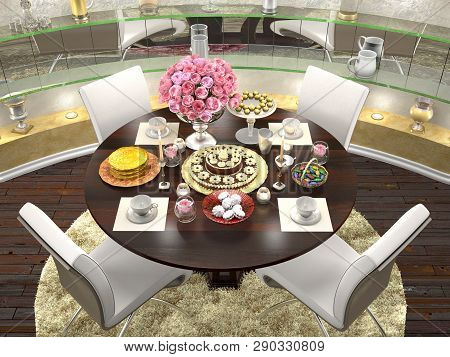 3d Illustration Of Serving A Round Dining Table For Four Persons