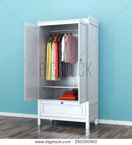 Open Cupboard Cabinet On Blue Wall Background, Room. 3d Illustration