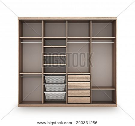Modern Wooden Wardrobe With Open Doors. 3d Illustration