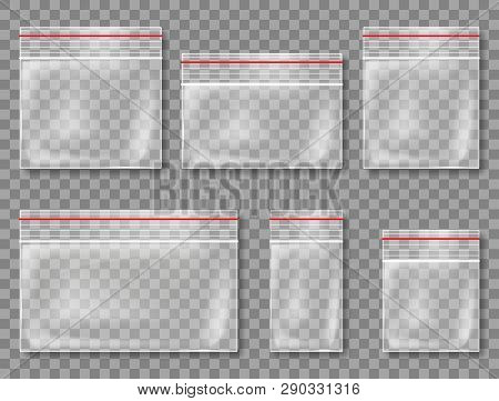 Vector Collection Of Realistic Plastic Bags On The Transparent Background
