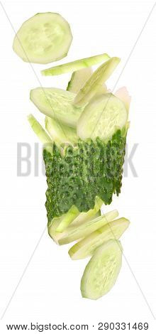 Cucumber Piece In Circles Isolated On White Background