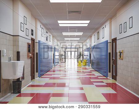 School Hallway Interior Design Security  3d Illustration