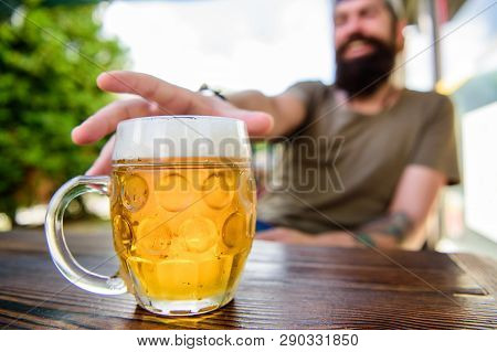 Drinking Alcohol Including Beer. Alcohol Free Beer. Chilled Beer Mug On Cafe Table. Refreshing Alcoh