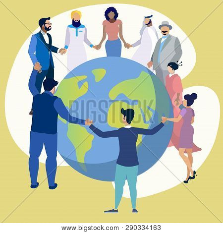 Friendship Of The Peoples Of The Entire Planet. People Dance In A Circle Around The Earth. In Minima