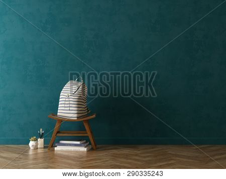 Interior of modern living room with chair 3D rendering