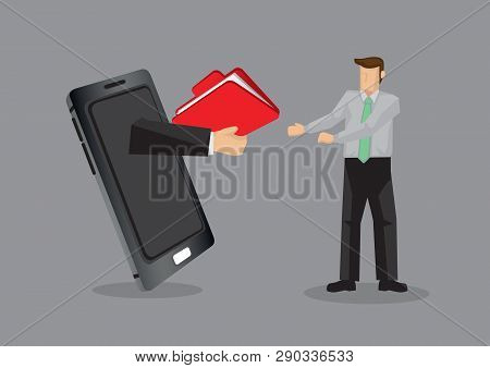 Cartoon Business Professional Receive A Folder From Someone Over Mobile Phone. Creative Vector Illus