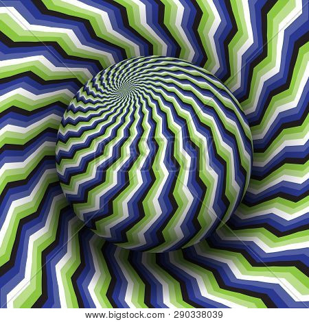 Optical Illusion Hypnotic Vector Illustration. Blue Green White Black Patterned Sphere Soaring Above