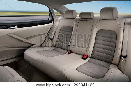 back passenger seats in modern luxury comfortable car