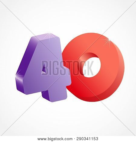 40 Th Years Old Congrats. Isolated Abstract Colored Graphic Design Template. Up To -40 % Logotype. R