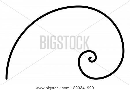Simple Fibonacci Spiral Without Auxiliary Geometry. Simple Thick Black Line