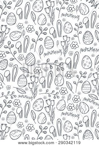 Easter Background With Easter Eggs. Doodle Hand Draw Background. Vector Illustration.