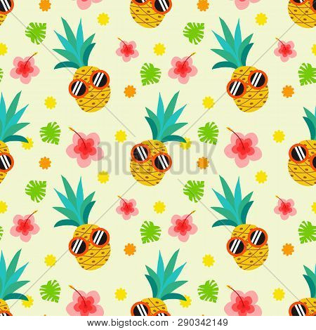 Cute Summer Pineapple Seamless Pattern. Pineapple Wear Sunglasses. Summer And Tropical Concept.