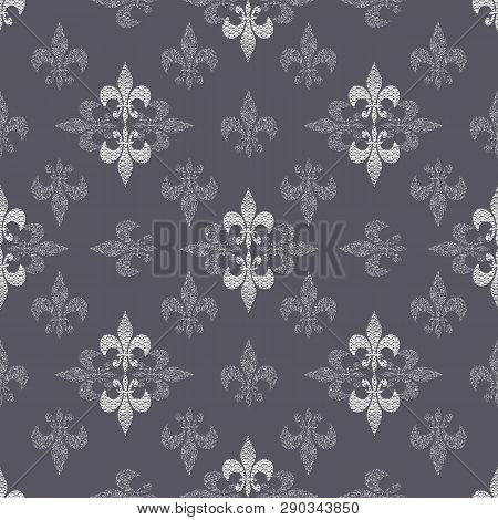 Seamless Pattern Illustration Of Abstract Stylized Lilies With Mixed Prints And Optical Illusion Sty