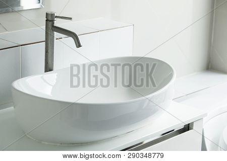 Interior Of Bathroom With Sink Basin,modern Bathroom In Luxury House,modern Wash Basin In The Bathro