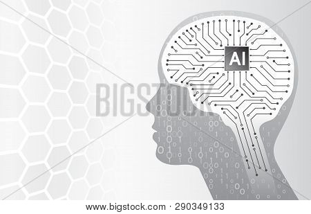 Artificial Intelligence. Technology Background With Head Silhouette And Circuit Board Brain. Virtual