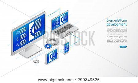 Cross Platform Website Development . Multiplatform Web Page Concept For Pc, Laptop, Tablet And Smart