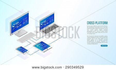 Adaptive Responsive Webdesign. Cross Platform Website Development . Multiplatform Web Page Concept F