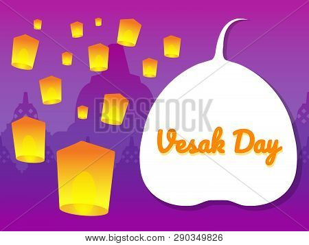 Flying Vesak Lantern  Illustration For Vesak Day Greeting Card.