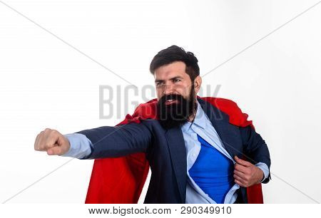 Business. Enthusiasm. Super Businessmen. Superman Shows Costume. Business Concept. Superhero In Red