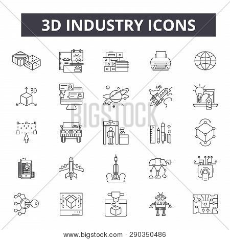 3d Industry Line Icons. Editable Stroke Signs. Concept Icons: Industrial Design, Technology, Factory