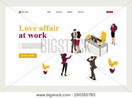 Isometric Love Affair At Work, Colleagues Shocked Love Colleagues. Website Template Landing Page.