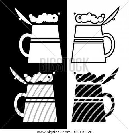 black-and-white picture of beer mug