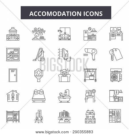 Accomodation Line Icons. Editable Stroke Signs. Concept Icons: Travel, Holiday, Vacation, Hotel, Roo