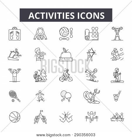 Activities Line Icons. Editable Stroke Signs. Concept Icons: Active People, Woman Lifestyle, Man Lei