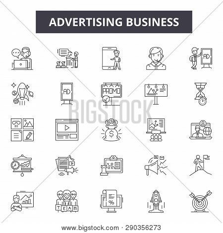 Advertising Business Line Icons. Editable Stroke Signs. Concept Icons: Marketing, Digital Promotion,
