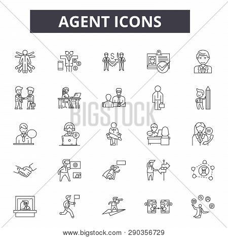 Agent Line Icons. Editable Stroke Signs. Concept Icons: Real Estate, Showing House, Home, Salesperso