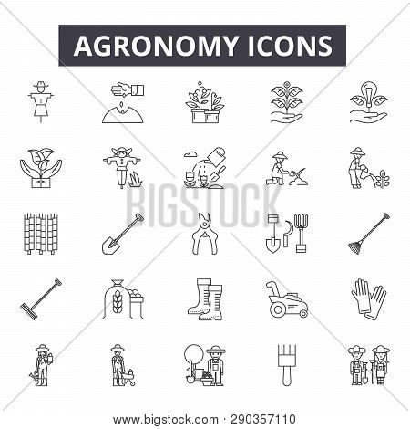 Agronomy Line Icons. Editable Stroke Signs. Concept Icons: Agriculture, Farming, Plant, Farmer, Crop